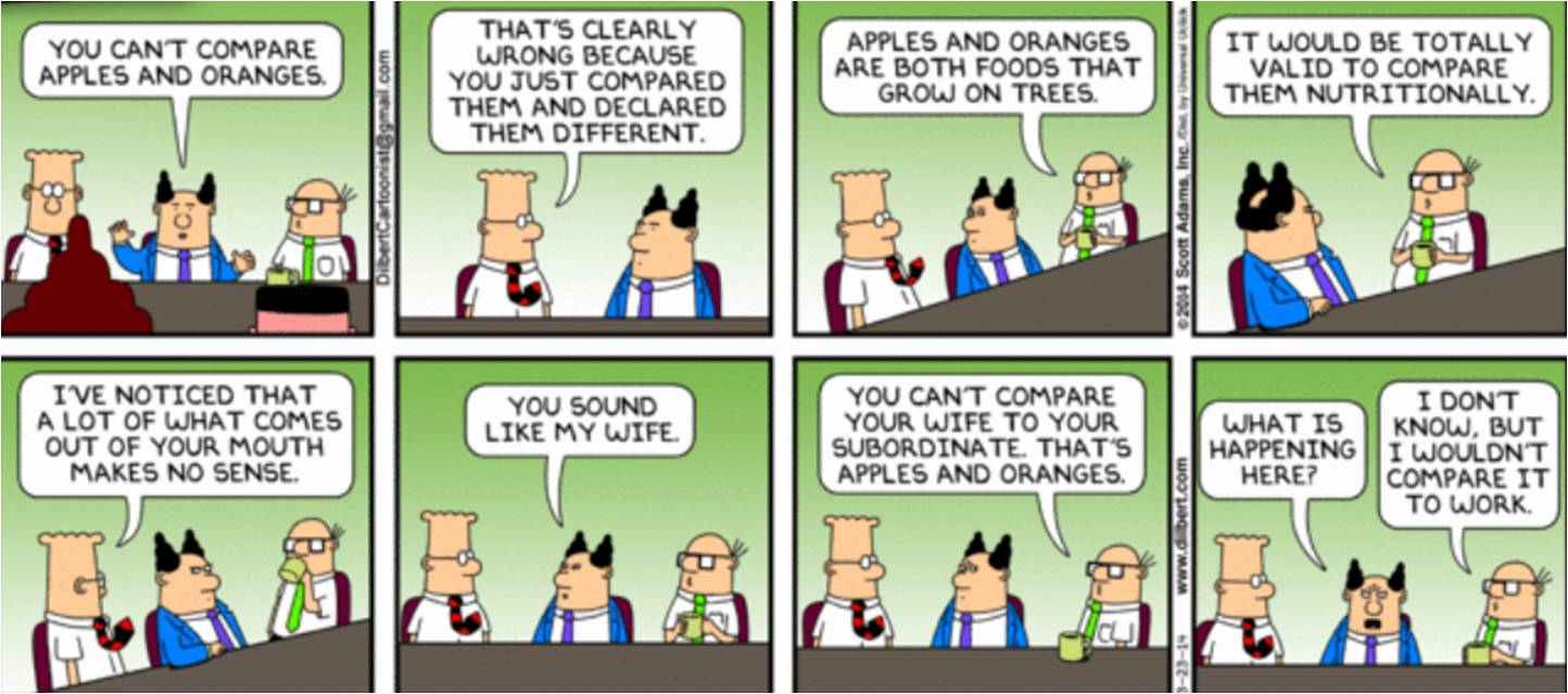 Dilbert on Apples vs. Oranges Comparison at Workplace