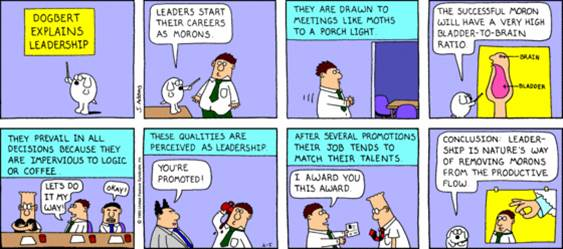 Dilbert on Leaders as Morons