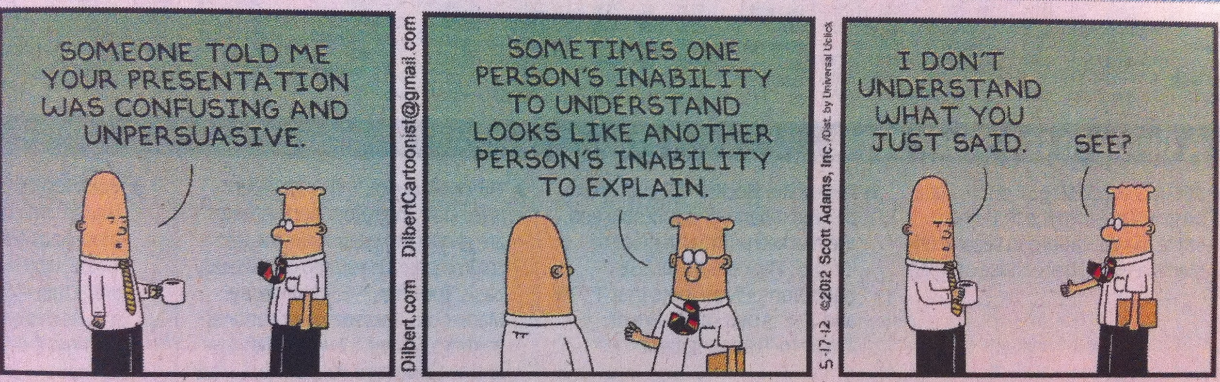 Dilbert on Effective Communication Skills